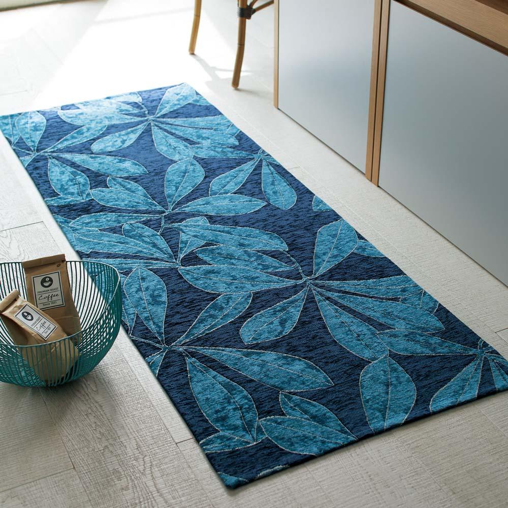 Botanico/ボタニコ イタリア製ジャガード織マット ブルー (約65×180)