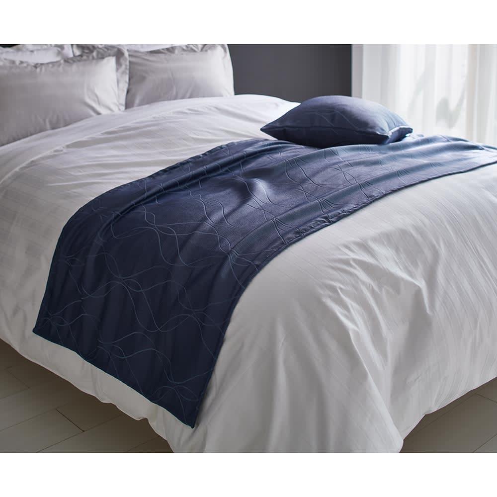 ホテル仕様ジャガード織カバー フットスロー ダークブルー (約70×230)