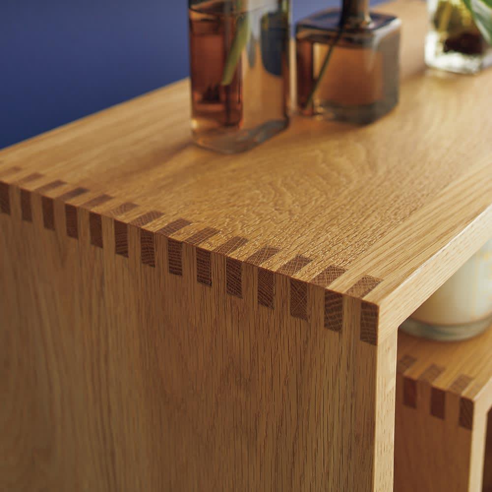 SHOJI/ショージ オケージョナルテーブル 幅57cm高さ86cm コンソールテーブル/サイドテーブル[abode・アボード/デザイン:ウー・バホリヨディン] ジョイント部は頑丈で手の込んだ組木仕上げ。