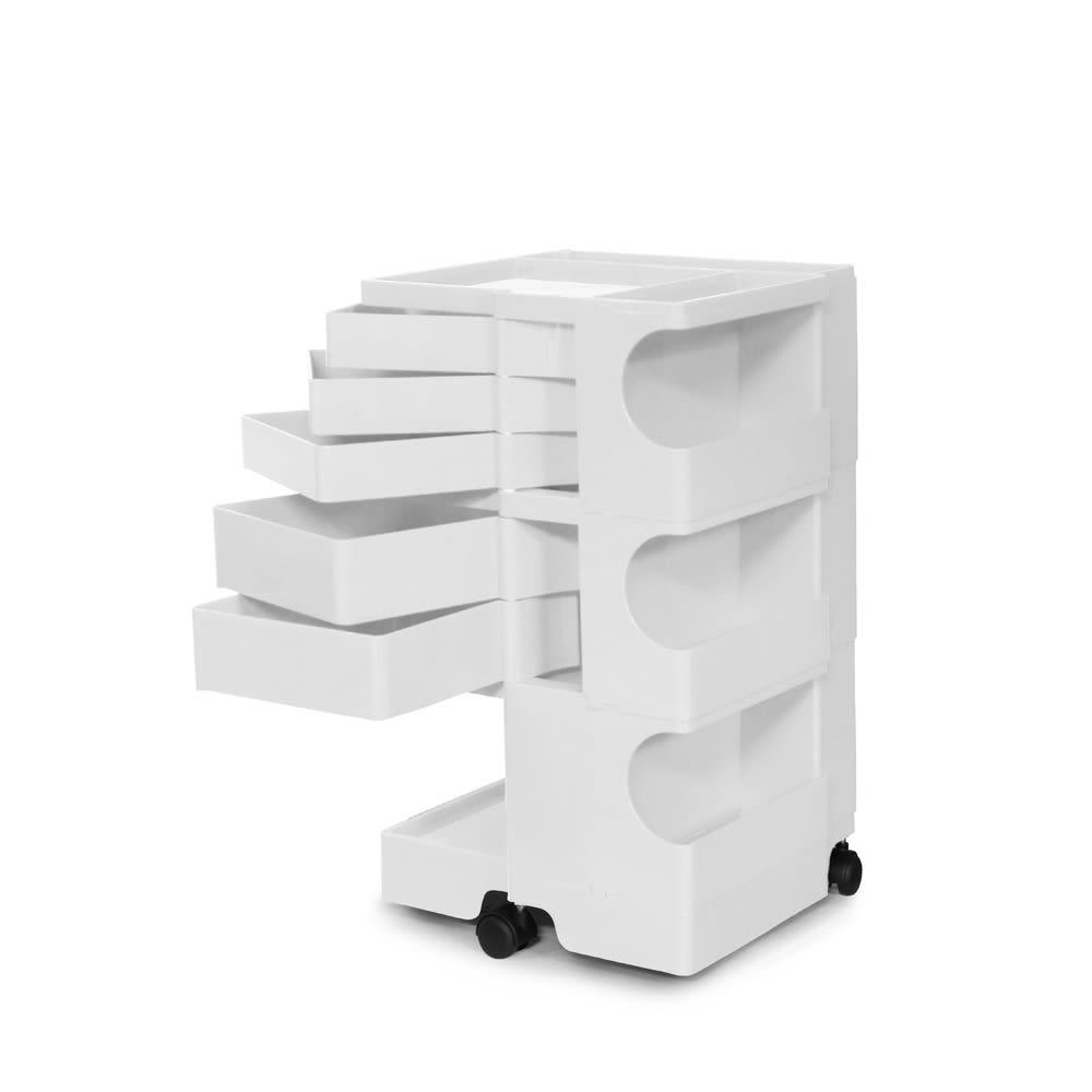 Boby Wagon/ボビーワゴン ホワイト・ブラックタイプ[B-LINE・ビーライン/デザイン:ジョエ・コロンボ] 3段5トレイ・ホワイト
