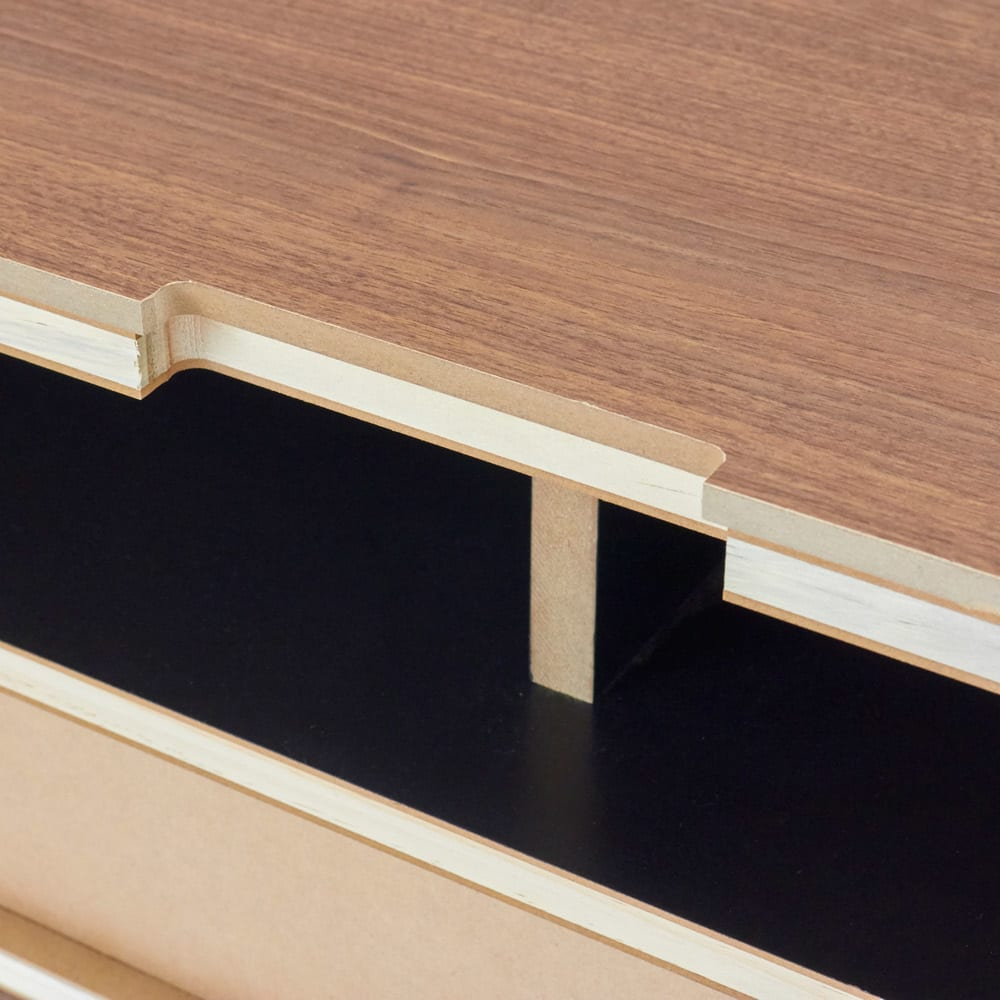 AlusStyle/アルススタイル リビングシリーズ テレビ台 幅150.5cm 天板奥には配線用カットがありコード類がを通せます。