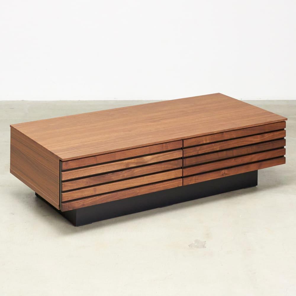 AlusStyle/アルススタイル リビングシリーズ リビングテーブル 幅110.5cm 横ストライプの格子がお部屋を広く感じさせてくれるポイントに。
