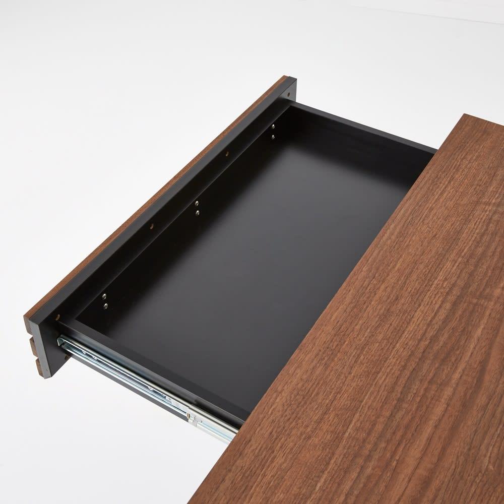 AlusStyle/アルススタイル 薄型ホームオフィス デスク 幅120.5cm 引出の内装材にも高級感漂うブラックカラーを採用しました。
