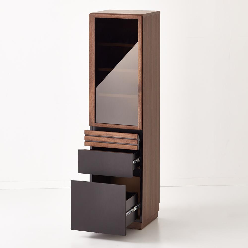 AlusStyle/アルススタイル 薄型ホームオフィス ブックシェルフ幅40.5cm 引出3杯付きで収納力もたっぷり。