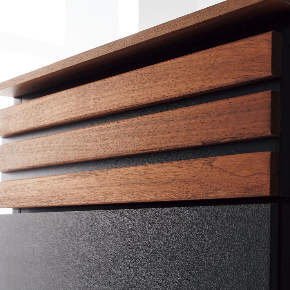 AlusStyle/アルススタイル シェルフシリーズ 上台:オープン&下台:引き出し 幅60cm高さ192cm ウォルナット材とレザー調の表面材が高級感を演出。
