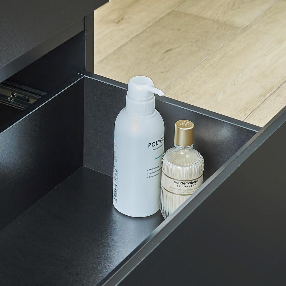 AlusStyle/アルススタイル シェルフシリーズ 上台:オープン&下台:引き出し 幅60cm高さ192cm 下2段は薬箱や化粧ボトルなどもしまいやすい深さ。大きさの揃わない雑多なものをひとまとめに。