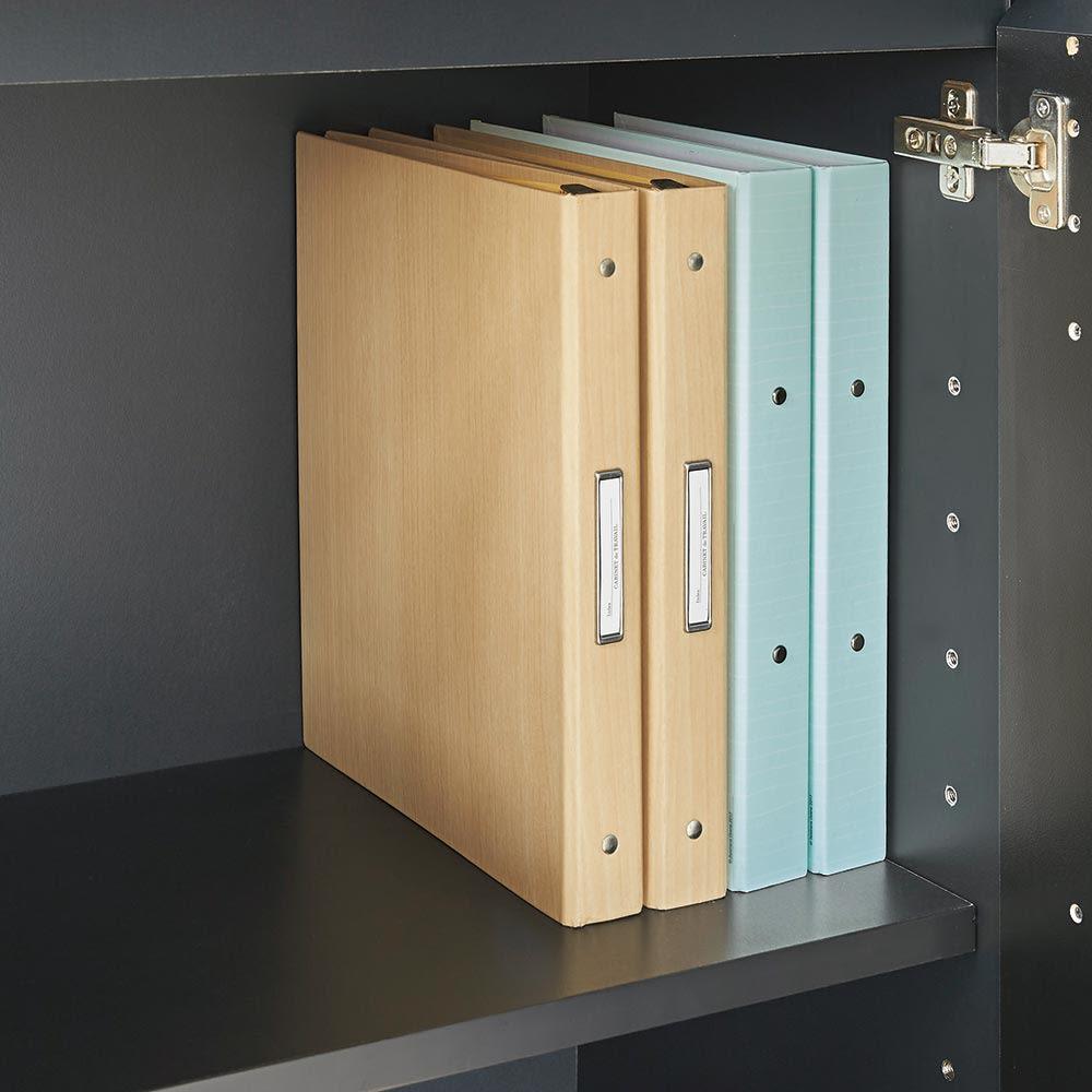 AlusStyle/アルススタイル シェルフシリーズ 上台:オープン&下台:扉 幅80cm高さ192cm 下台の扉内にA4ファイルも収まります。学校関係の書類や家電の取扱説明書、在宅ワーク用の資料の管理に便利です。
