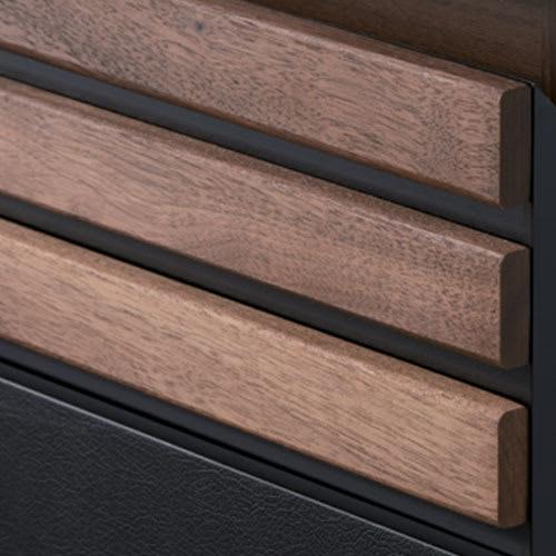 AlusStyle/アルススタイル カウンター下収納庫 3枚扉 幅120cm高さ84.5cm 【天然木格子】木の質感が映えるシャープな横格子。