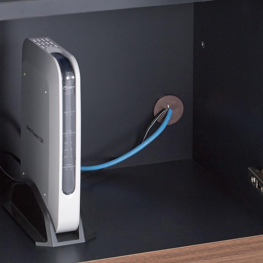 AlusStyle/アルススタイル ルーター収納書類チェスト A4タイプ高さ120cm 背面にコード穴付き。ルーター類の電源コードを通すことができます。キャップ付きで埃の侵入にも配慮しました。