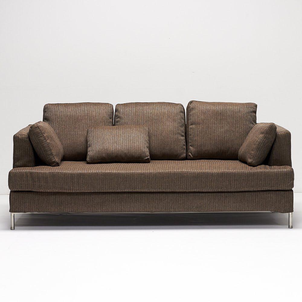 Slimleg(スリムレッグ)  カバーリングソファ トリプルソファ(3人掛け) ブラウン クッション6個(大3、小3)付き。
