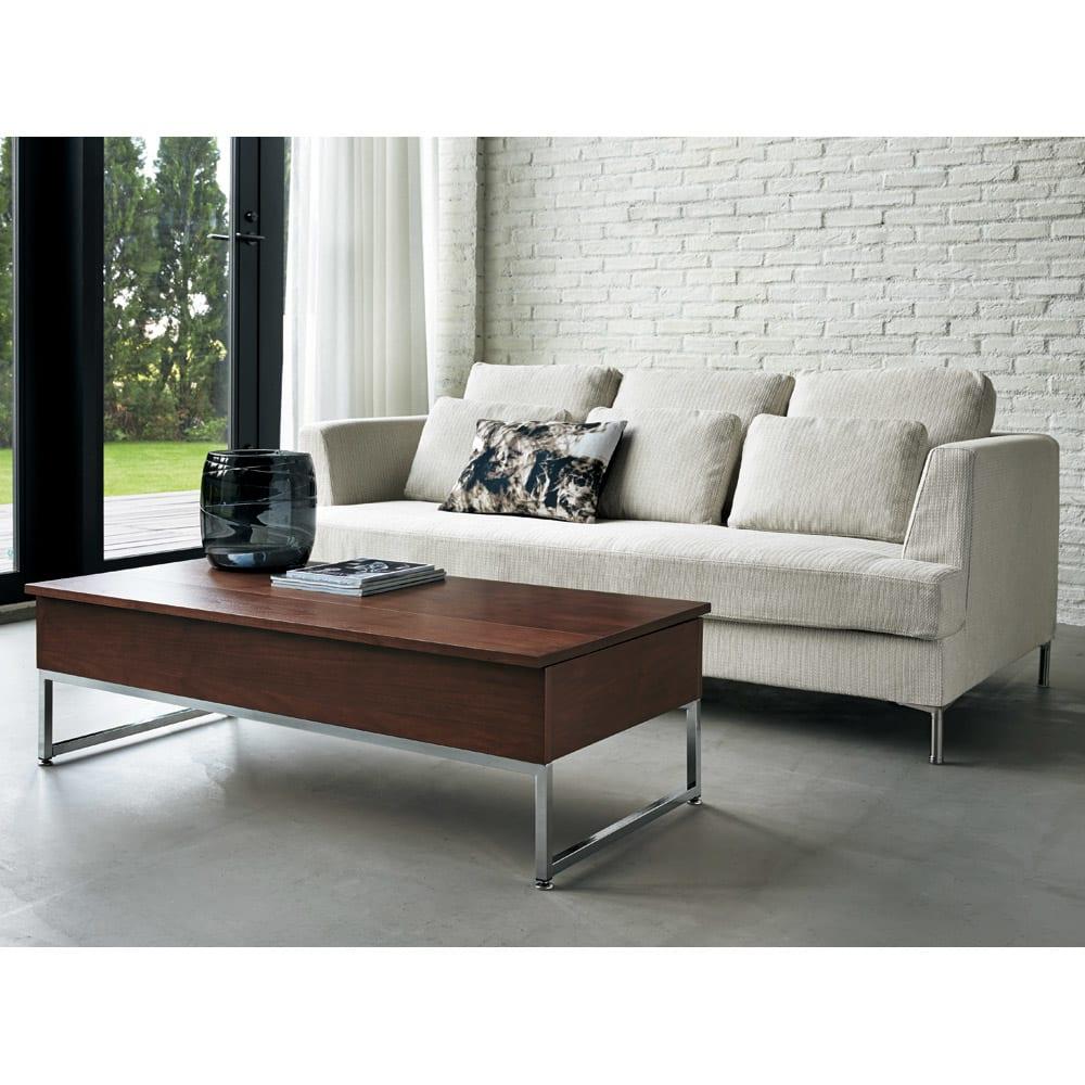 収納スペース付き リフトアップセンターテーブル ウォルナット 洗練されたモダンデザインはお部屋に高級感をもたらします。