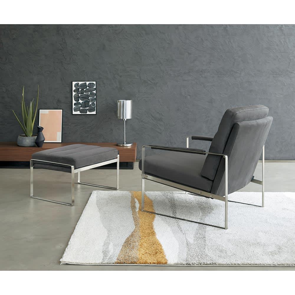 Grazol/グラツォール オットマン 幅67cm (イ)グレー パーソナルチェアとのコーディネート画像
