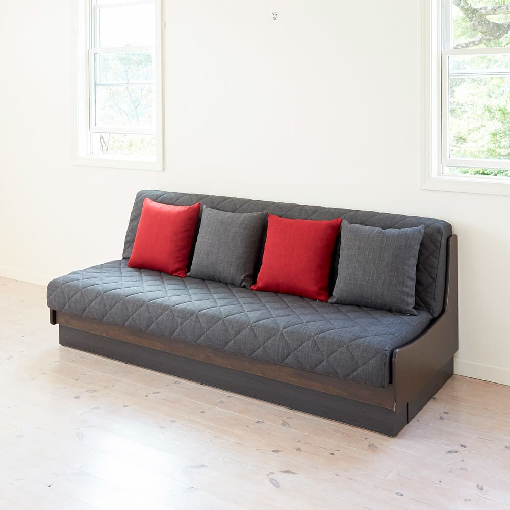 Licol/リコル ソファベッド 幅200 [国産] (エ)ブラウン×グレー