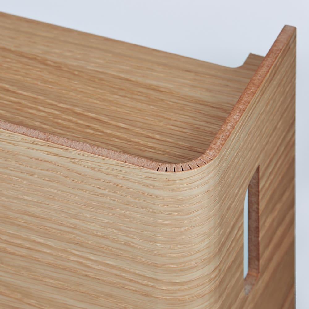 大容量曲木スリムルーター収納 ロータイプ (イ)ナチュラル