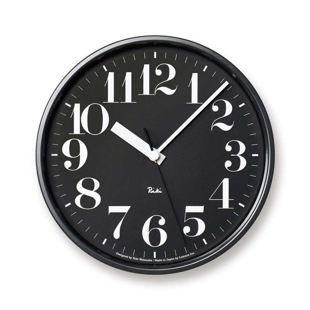 RIKI CLOCK/リキクロック電波時計  径20.5cm スチールフレーム ブラック