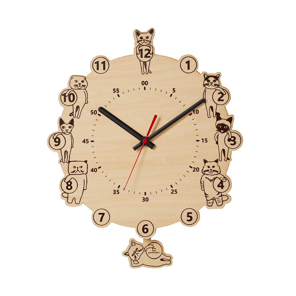 インテリア雑貨 日用品 時計 壁掛け時計 振り子時計 キャッツ クロック H84401