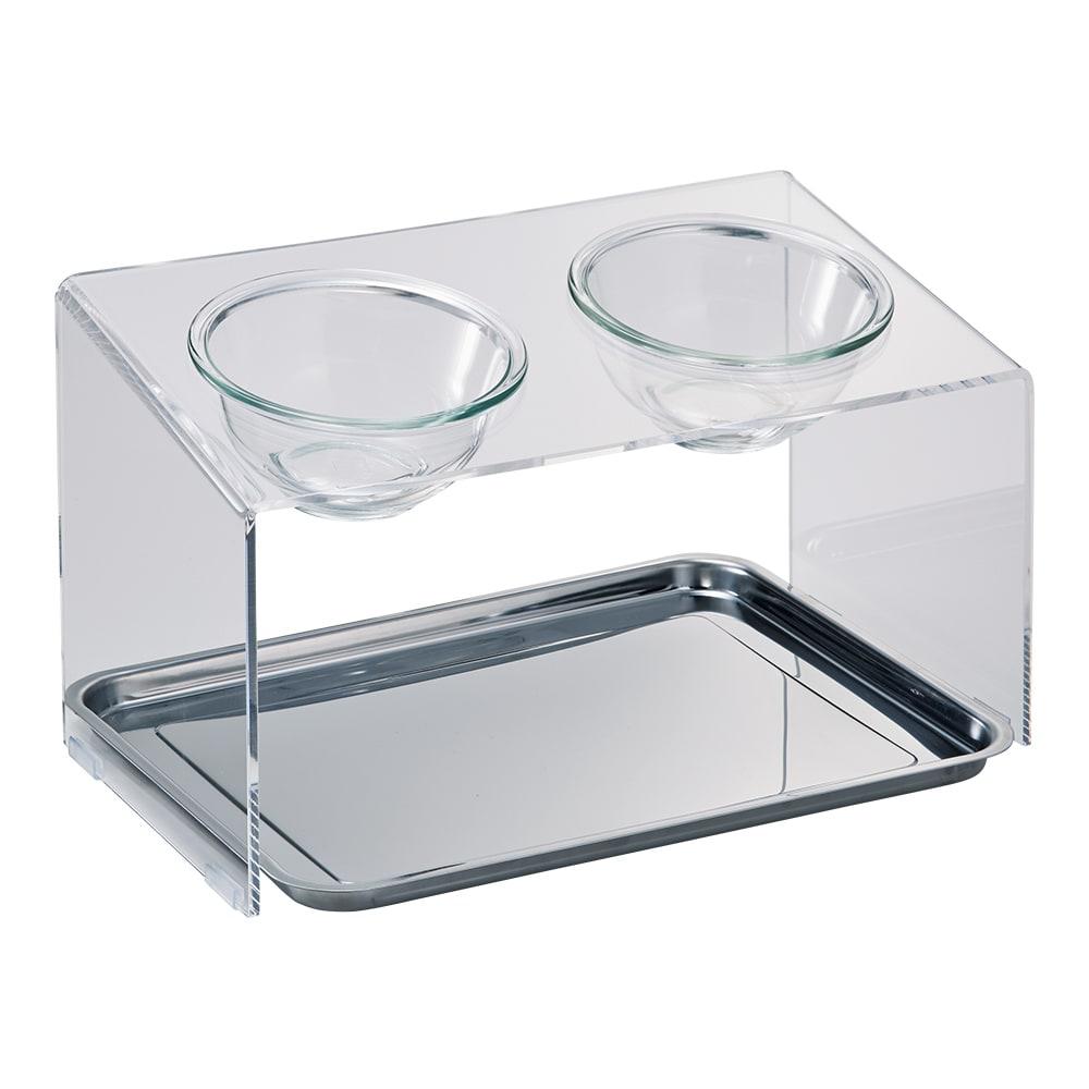 アクリル製ペットフードテーブル Mサイズ トレー付き