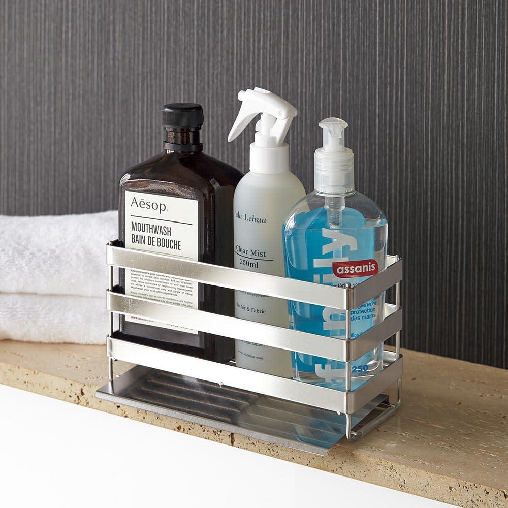 水が流れる トレー付き ソープラック 清潔にしておきたい洗面台周りにおすすめ。