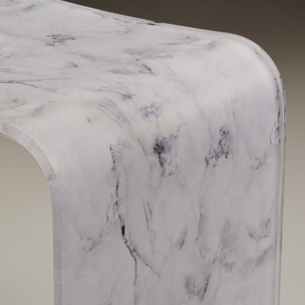 マーブル調バスチェア・ウォッシュボウル 2点セット (ア)ホワイトグレー  美しいホワイトマーブル調です。