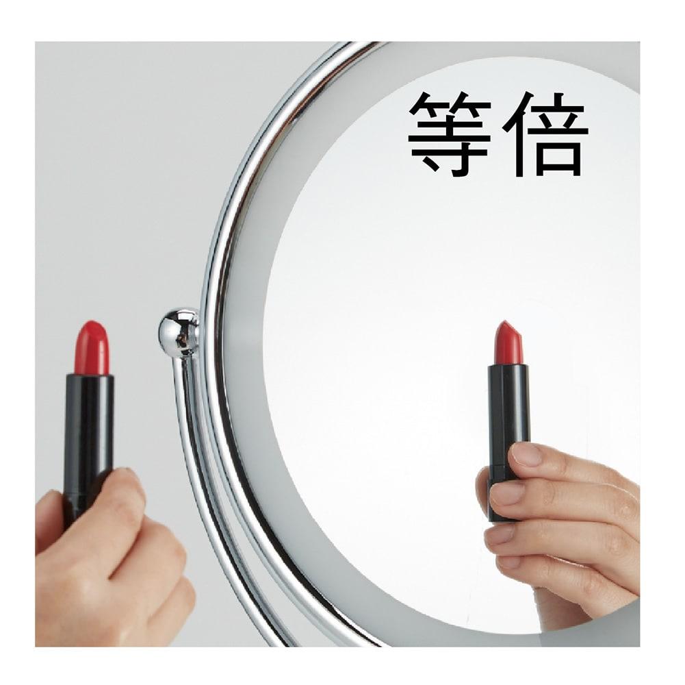 3色調光LED照明付き拡大鏡 小型 (ライト付き 卓上ミラー) 等倍/5倍拡大の2面です。