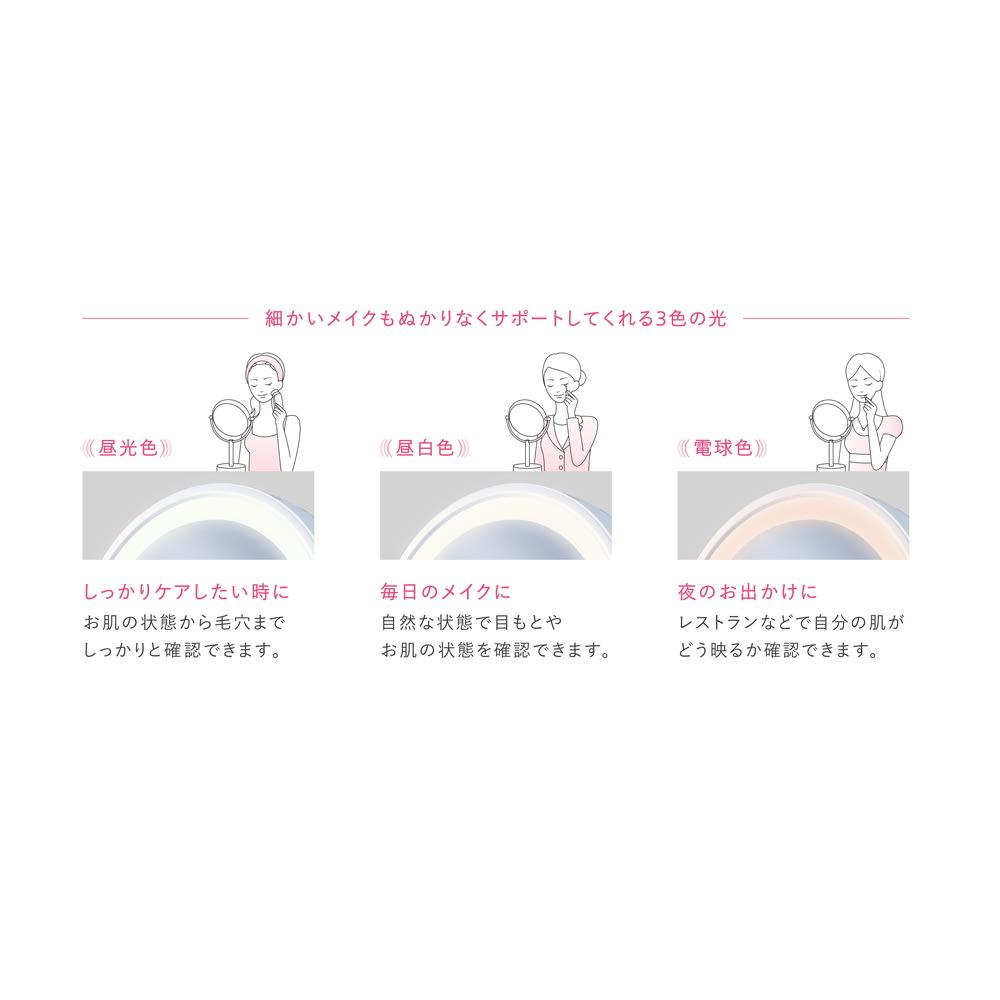 3色調光LED照明付き拡大鏡 小型 (ライト付き 卓上ミラー) シチュエーションに合わせたお肌の状態をチェックできます