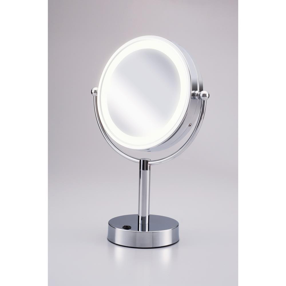 3色調光LED照明付き拡大鏡 小型 (ライト付き 卓上ミラー) 昼光色