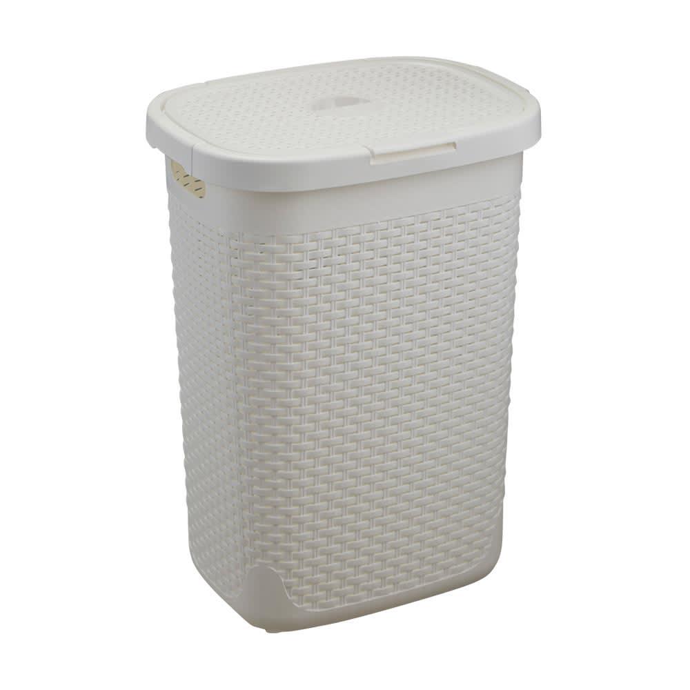 蓋付き 樹脂製 バスケット  50L ヨコ (ア)ホワイト