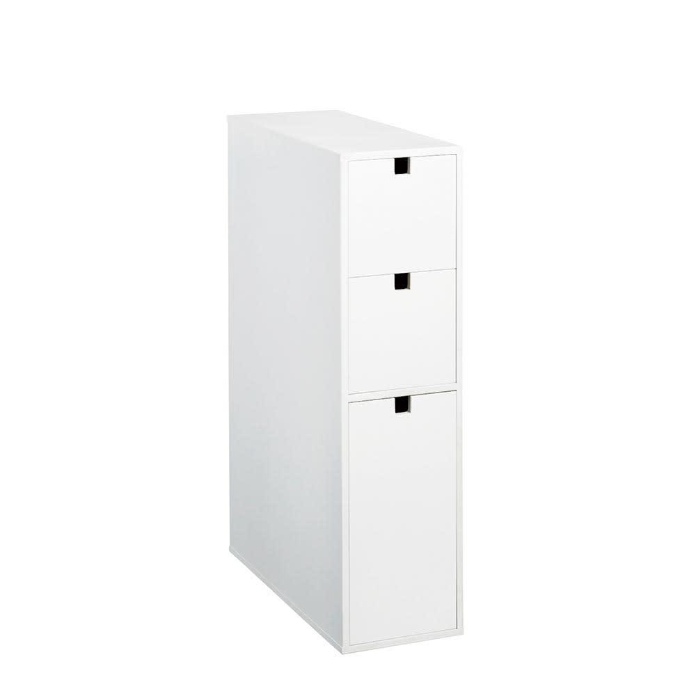 スリム 引き出し トイレ収納庫 3段 (ア)ホワイト
