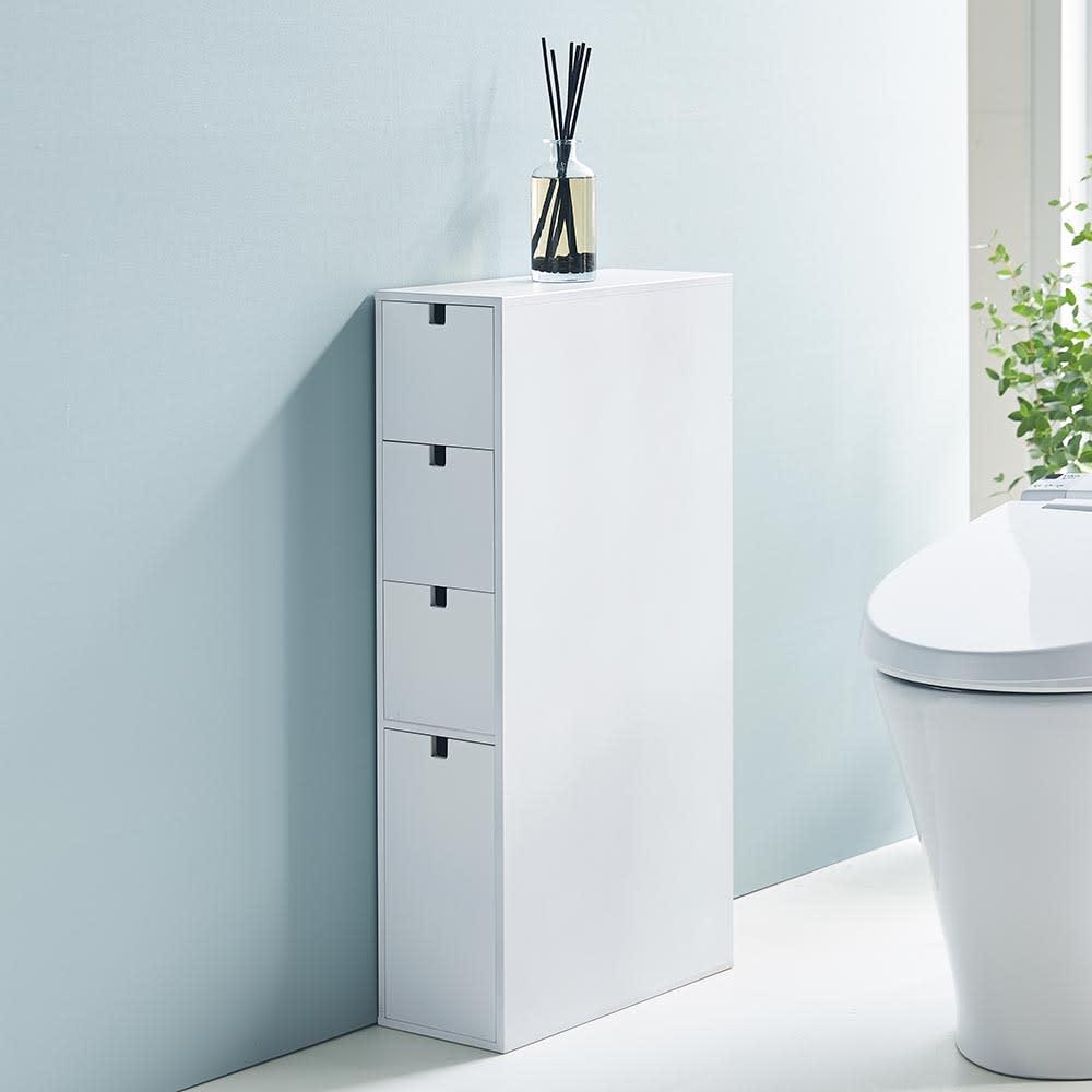 スリム 引き出し トイレ収納庫  4段 それぞれの段に分類して収納できるので衛生的です。