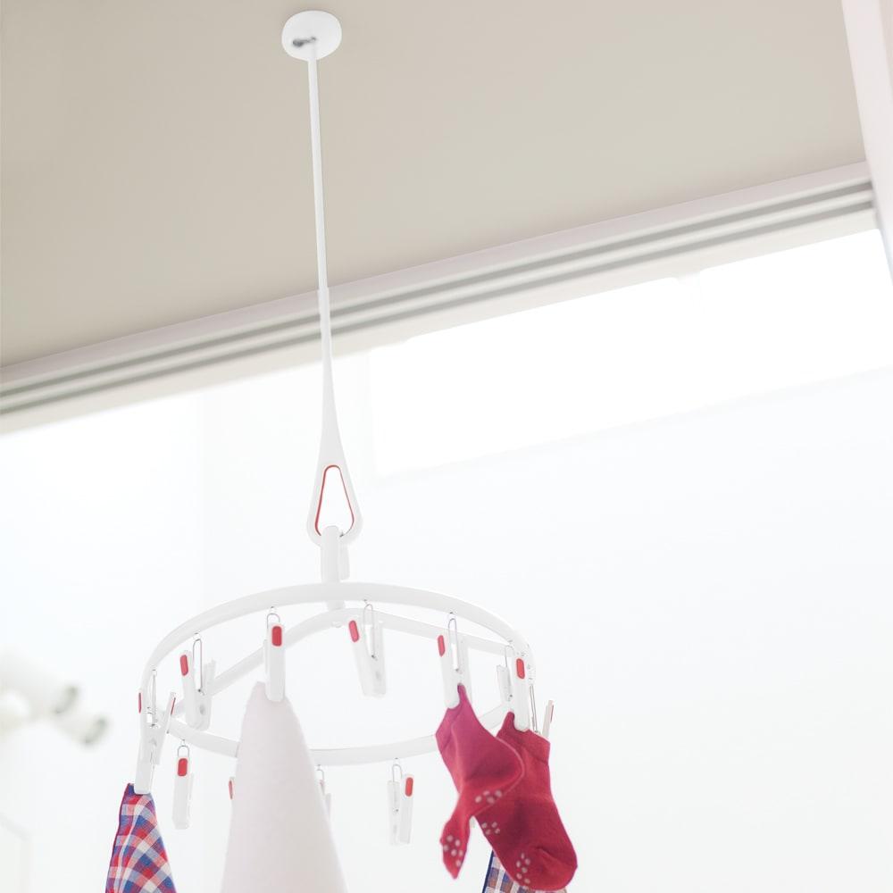 nasta/ナスタ 室内物干し 天吊りタイプAir Hoop(1本) (ア)ホワイト×レッド(洗濯物のちょっと干しに活躍)