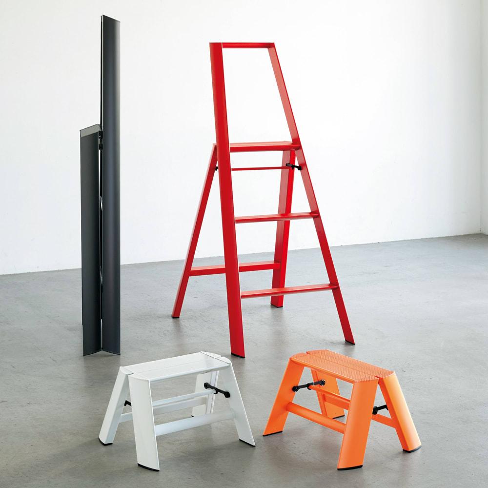 METAPHYS/メタフィス アルミステップ「ルカーノ」 1段 [色見本]左上からブラック、レッド、ホワイト、オレンジ ※ブラック・レッドは大タイプです。