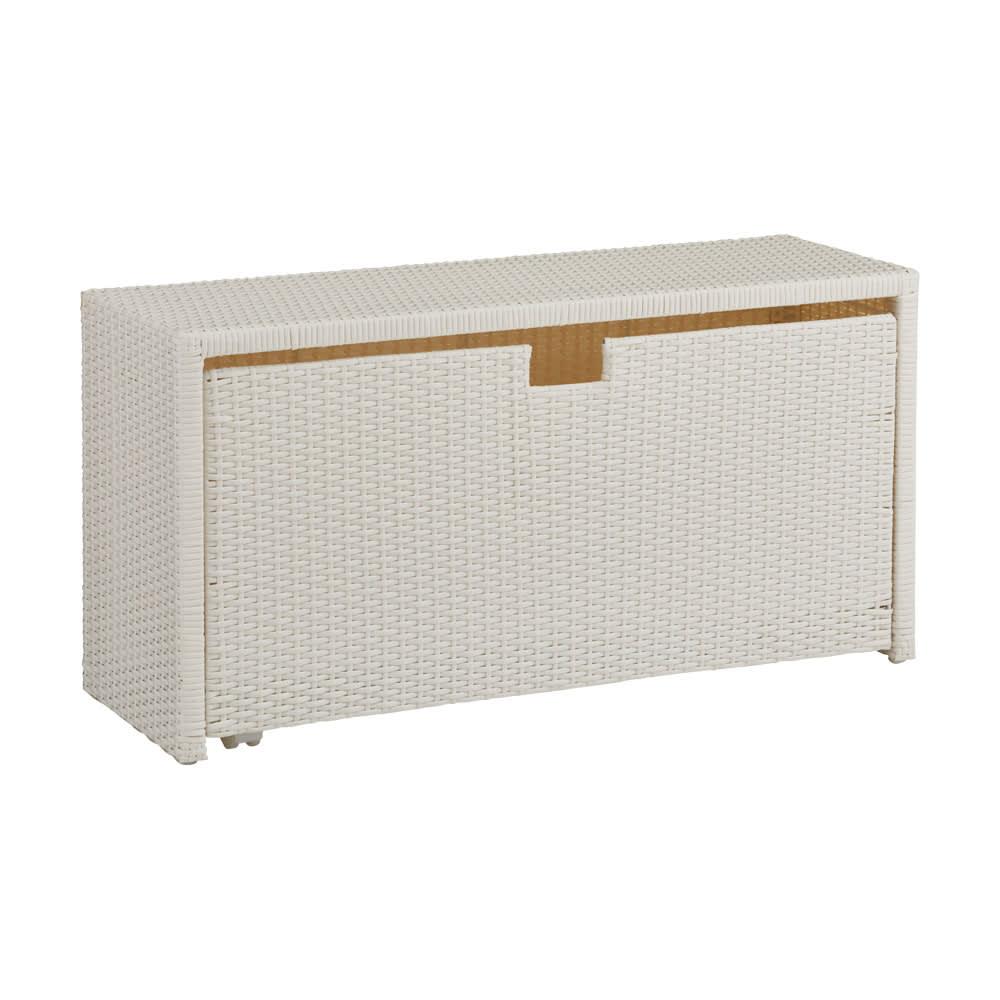 Nelia/ネリア ラタン調 ドレッシングルームベンチ ワゴン 幅90cm (ア)ホワイト 大きな収納スペースは、タオル類や衣服等の収納に便利です。