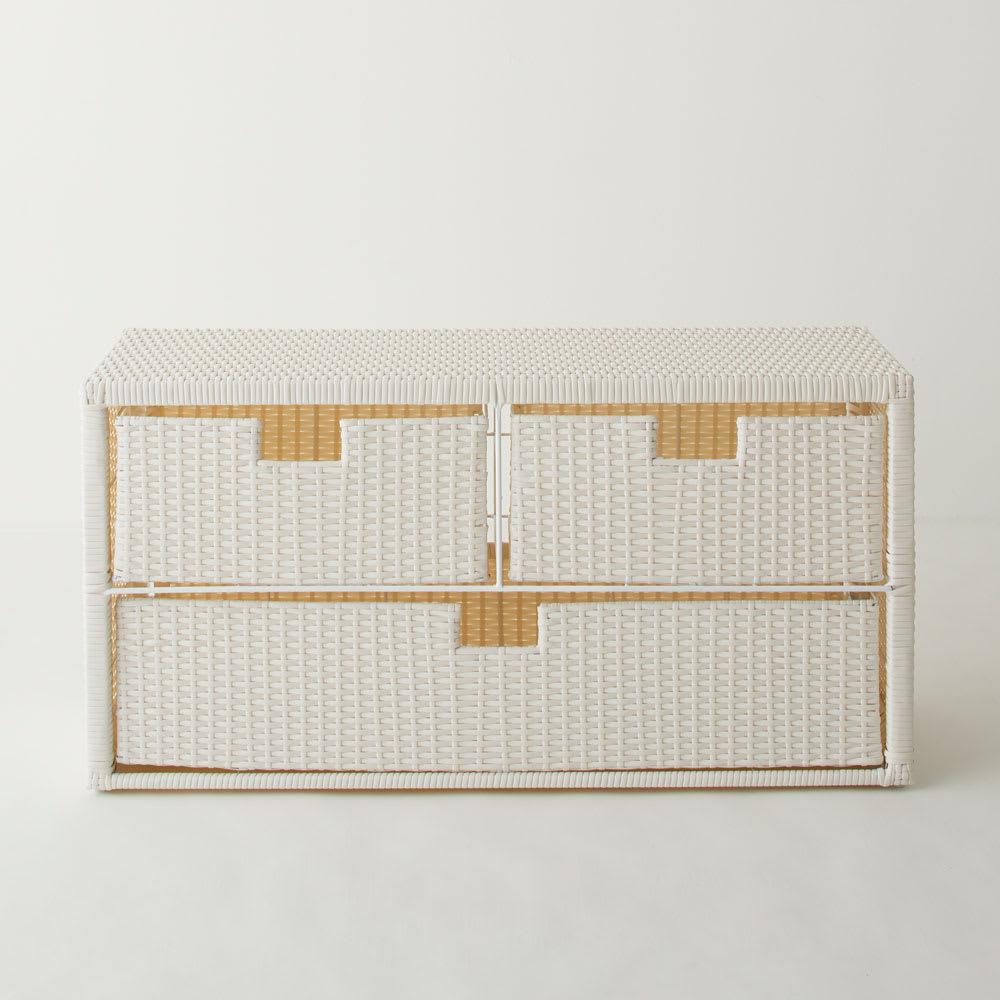 Nelia/ネリア ラタン調 ドレッシングルームベンチ 引き出し 幅90cm (ア)ホワイト 幅90cm引き出しタイプ。タオルやパジャマ、化粧品等分別して収納するのに便利な引き出しタイプ。