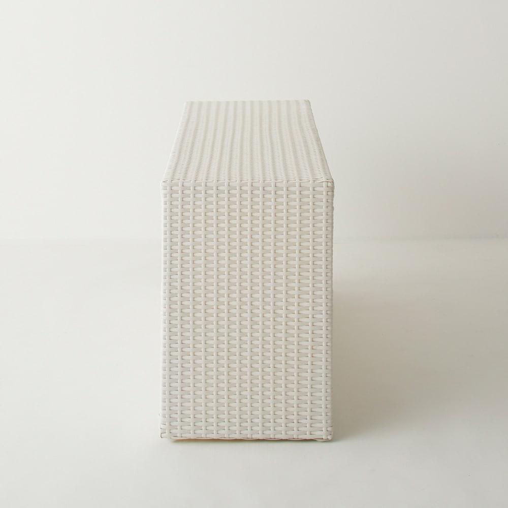 Nelia/ネリア ラタン調 ドレッシングルームベンチ 引き出し 幅90cm (ア)ホワイト サイド。