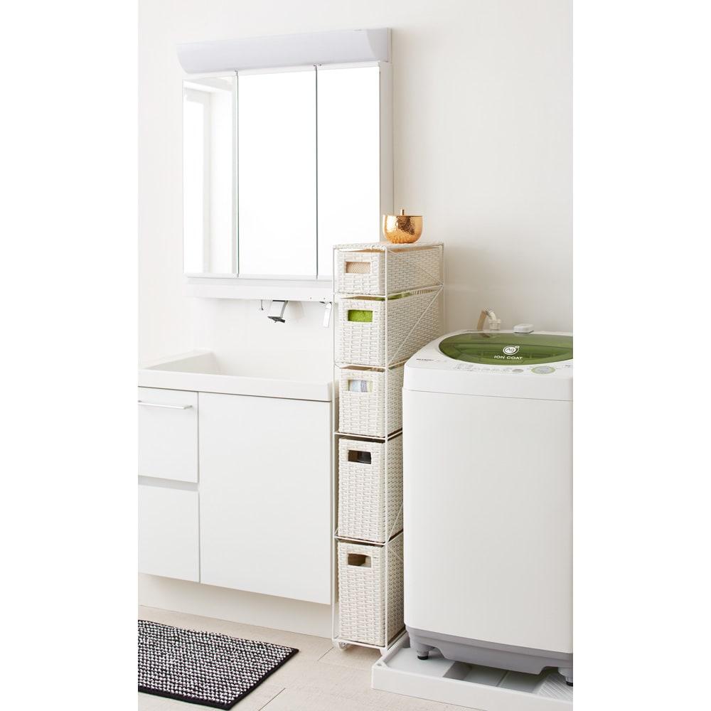 Nelia/ネリア ラタン調すき間ランドリーチェスト ロー高さ120cm 幅17cm ホワイト 洗面台や洗濯機横で活躍