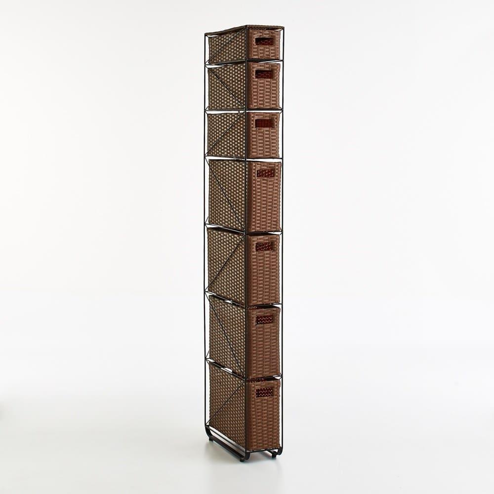 Nelia/ネリア ラタン調すき間ランドリーチェスト ハイ高さ180cm 幅17cm ブラウン 洗面台や洗濯機横で活躍