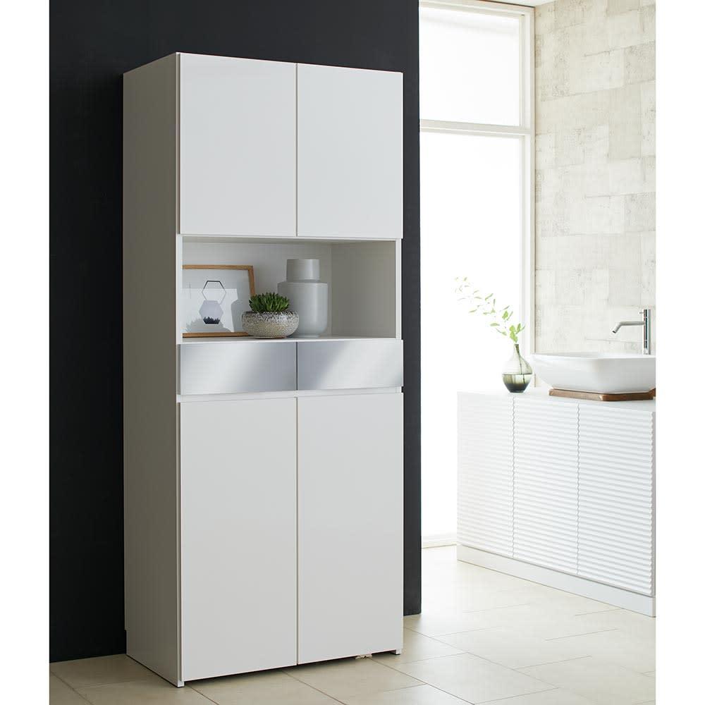 Maryam/マリアム ハウスキーピング 段違い棚収納庫 幅75 (ア)ホワイト 清潔感のある色合いがサニタリールームを明るい空間に。
