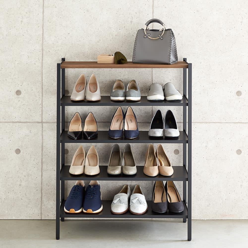 ビンテージ調 スリム シューズラック 幅70cm 幅70cmは靴を約12~15足収納できます