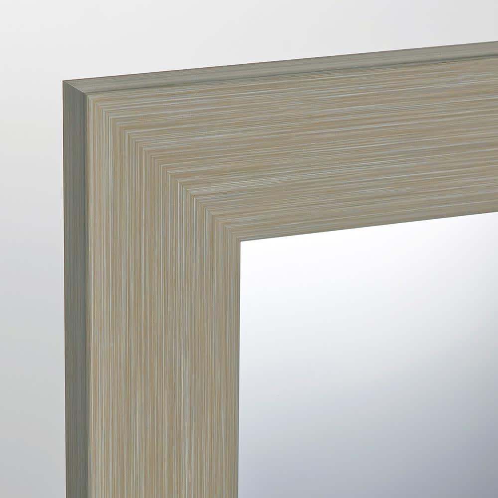 割れない軽量フィルムミラー 姿見 木目調フレーム 約51×161cm (イ)グレージュ お部屋に合わせやすい、ホワイトベージュ基調のグレーカラー