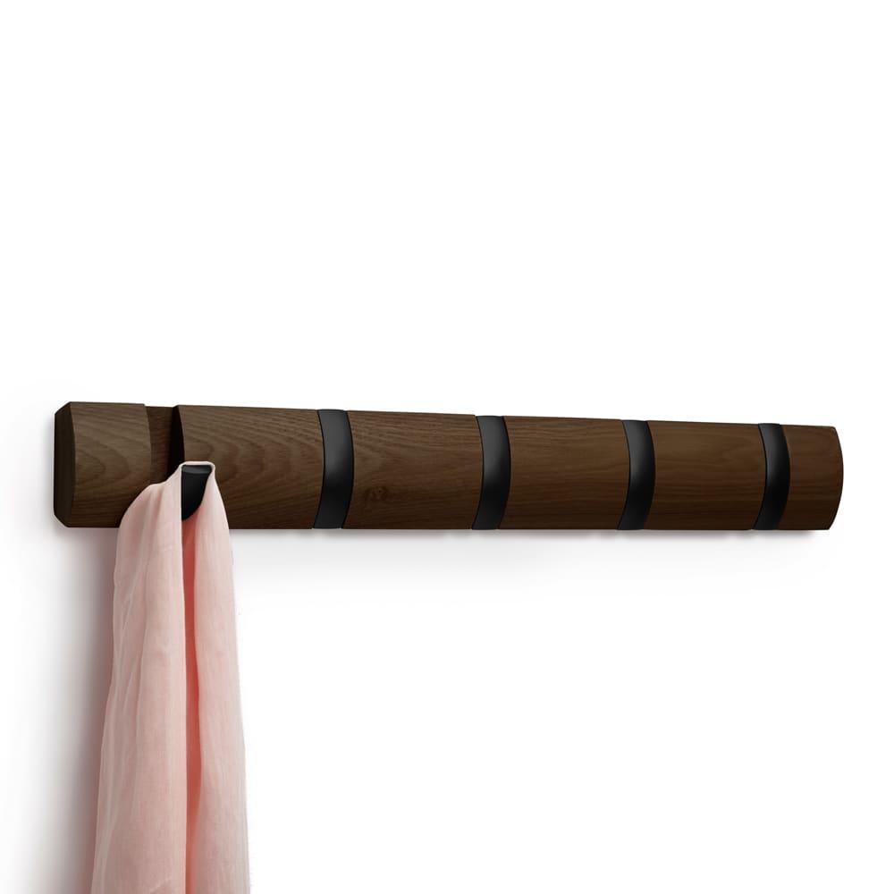 umbra/アンブラ 壁掛けハンガー フリップフック ダークブラウン×ブラックフック 5連タイプ
