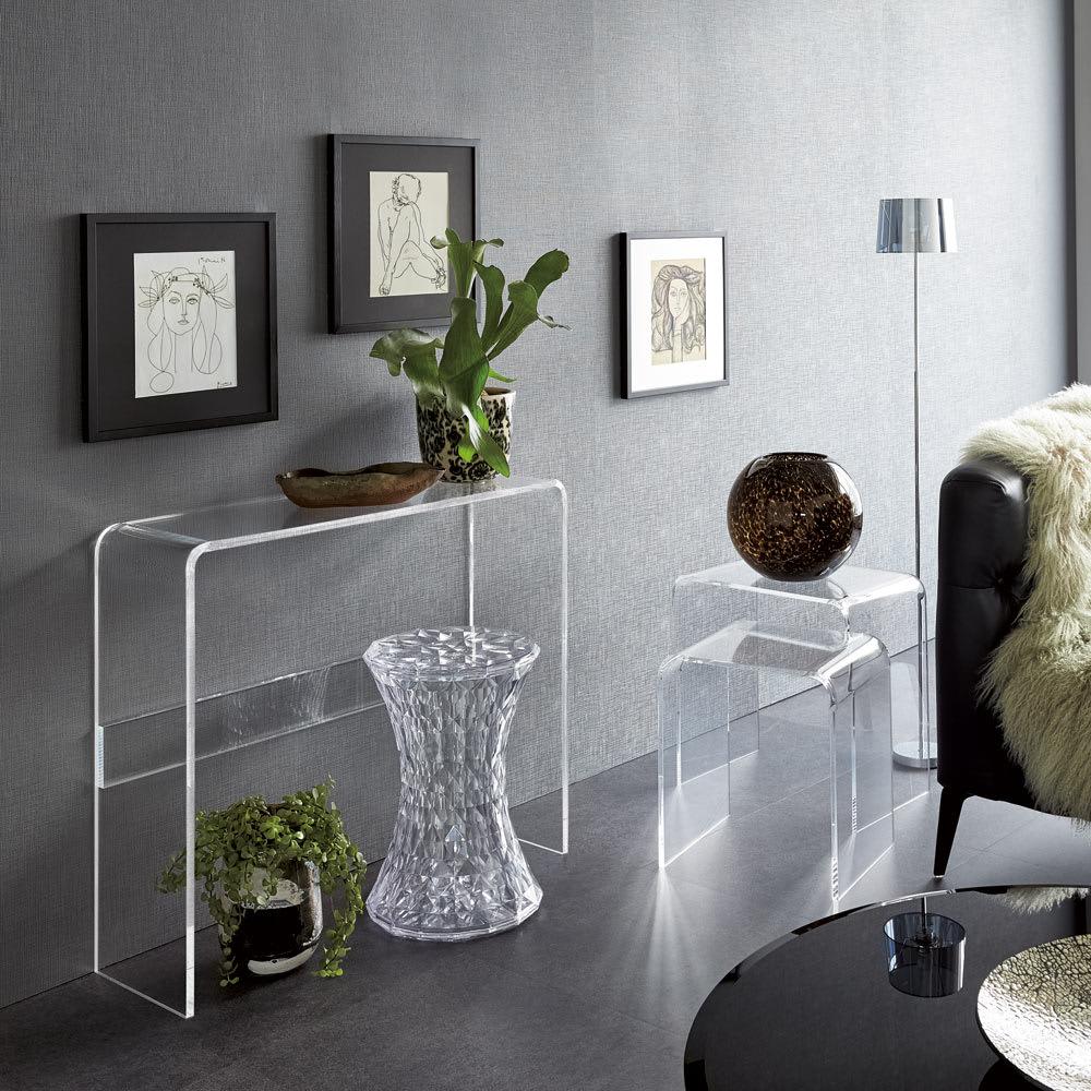 Gel/ジェル アクリルネストテーブル 3台セット [コーディネート例]※お届けはネストテーブルです。