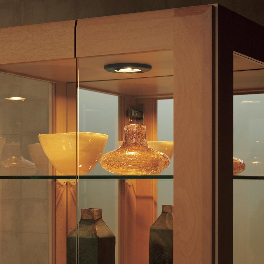 キュリオコレクションボード 幅59cm高さ175cm 自慢のコレクションが引き立つLEDダウンライト付き。