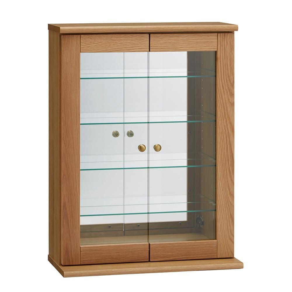家具 収納 本棚 ラック シェルフ コレクションラック ディスプレイラック Taide/タイデ 天然木卓上キュリオケース 幅60cm高さ80cm H85507