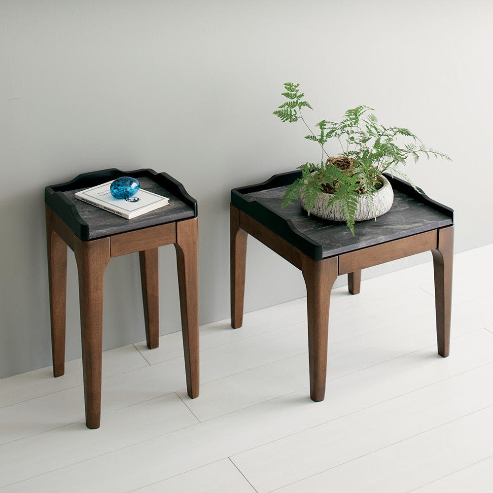 Elusso/エルーソ 石目調天板コンソール・ミニテーブルシリーズ 花台タイプは花瓶置きやソファサイドテーブル、ベッドサイドテーブルとしても便利です。