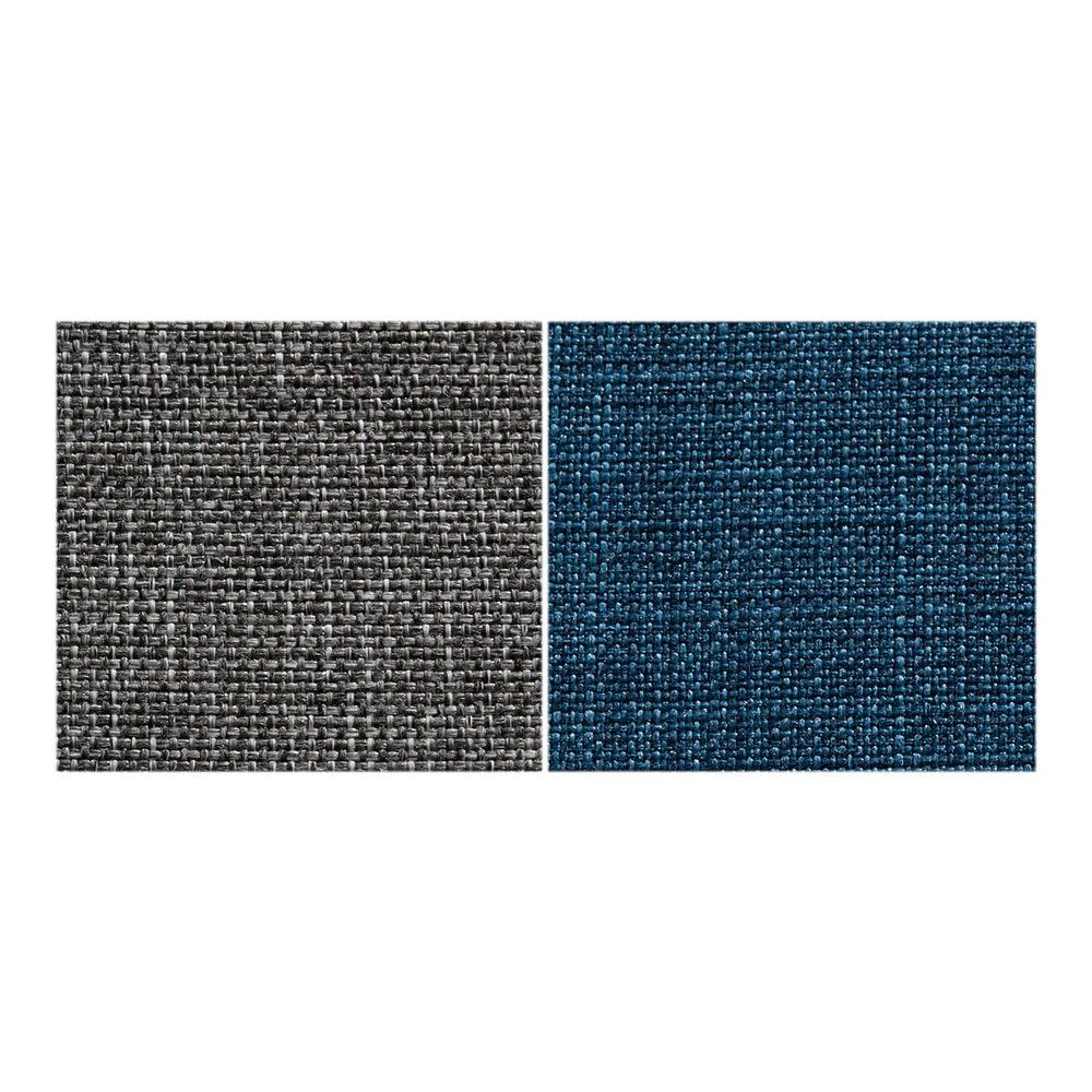 Nocco/ノッコ 収納庫付きスツール・玄関スツール 張地素材アップ 左からグレー、ブルー