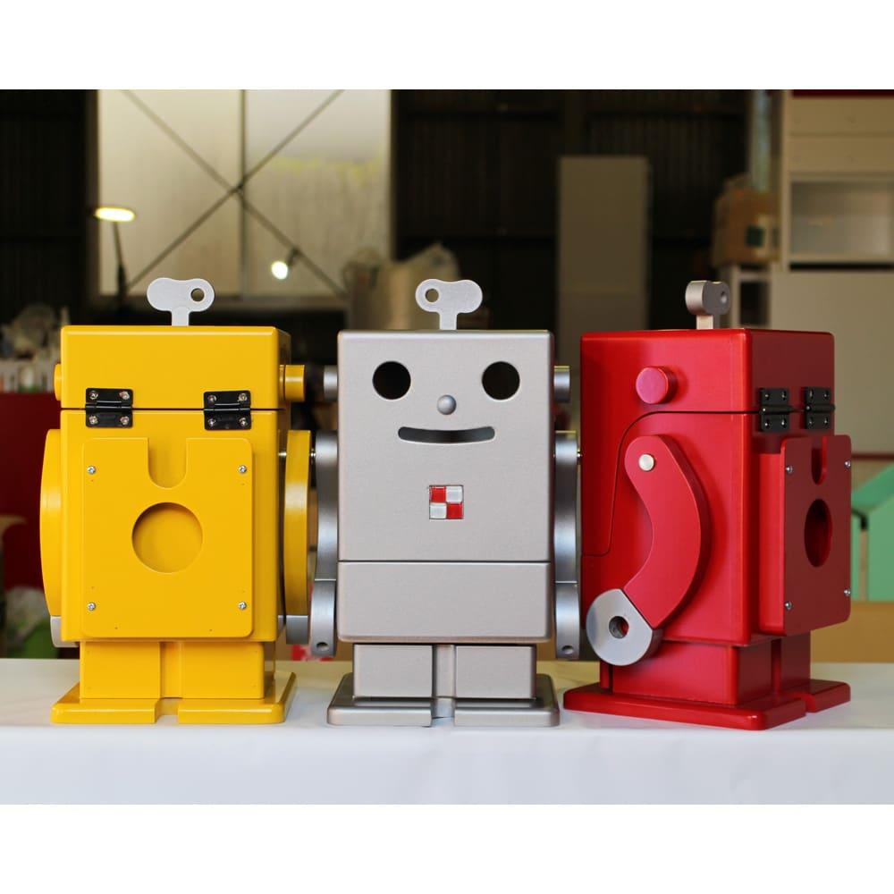 Pico/ピコ 卓上収納ロボ[ete・えて ] 定番色 左からイエロー、シルバー、レッド