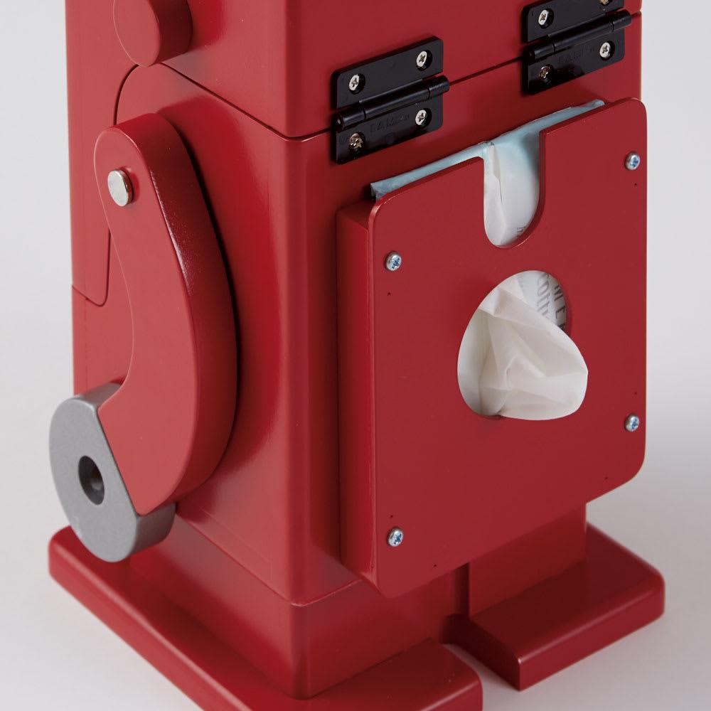 Pico/ピコ 卓上収納ロボ[ete・えて ] 定番色 背中にはジェットエンジンのようなバックパック。ポケットティッシュや名刺などが入ります。