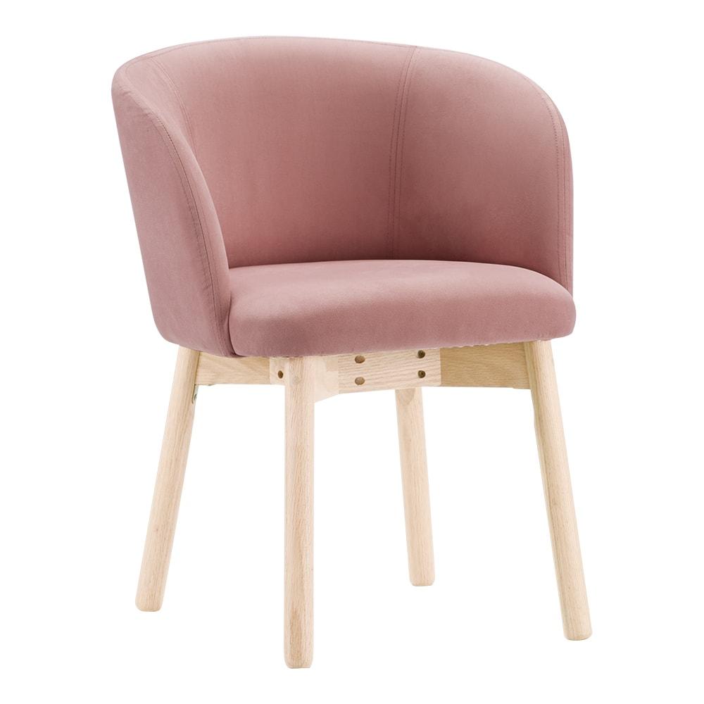 Ridge/リッジ ダイニングセット 天然木丸テーブル5点セット テーブル直径110cm (ア)ピンク 柔らかい丸みのあるシルエット。      肌触り滑らかで、光沢のあるベロア生地。ピンクは甘すぎない落ち着いた色合い。