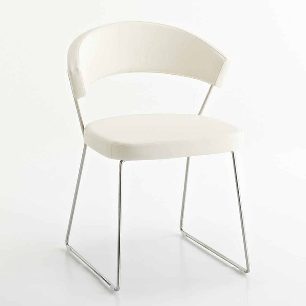 5点セット イタリア製伸長式ダイニングテーブル+NewYorkチェア4脚  テーブル幅130cm(伸長時190cm) チェア・ホワイト