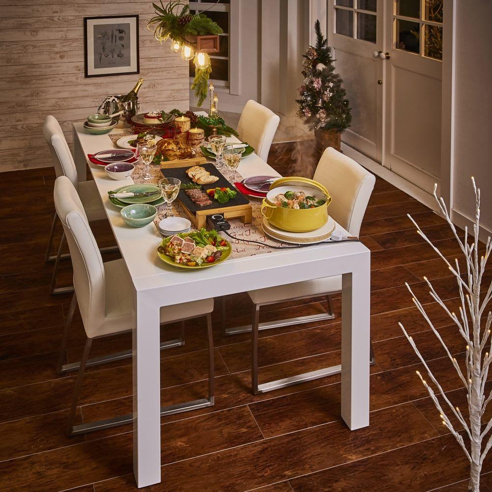 Steady ステディダイニングセット お得な5点セット (テーブル幅140cm・伸長時200cm) クリスマスパーティ 使用イメージ1(テーブル伸長時)